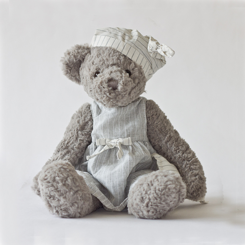 Kids Bed Plush Toy Gray Bear With Striped Nighty Dress Animals Home Sofa Dacoration In Stock Christmas Valentines New Year Gifts(China (Mainland))