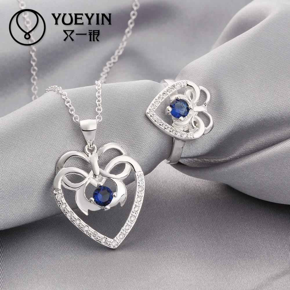Fashion silver plated Jewerly Set for Women Wedding jewelry sets Wholesale Cheap blue sapphire ring collier(China (Mainland))
