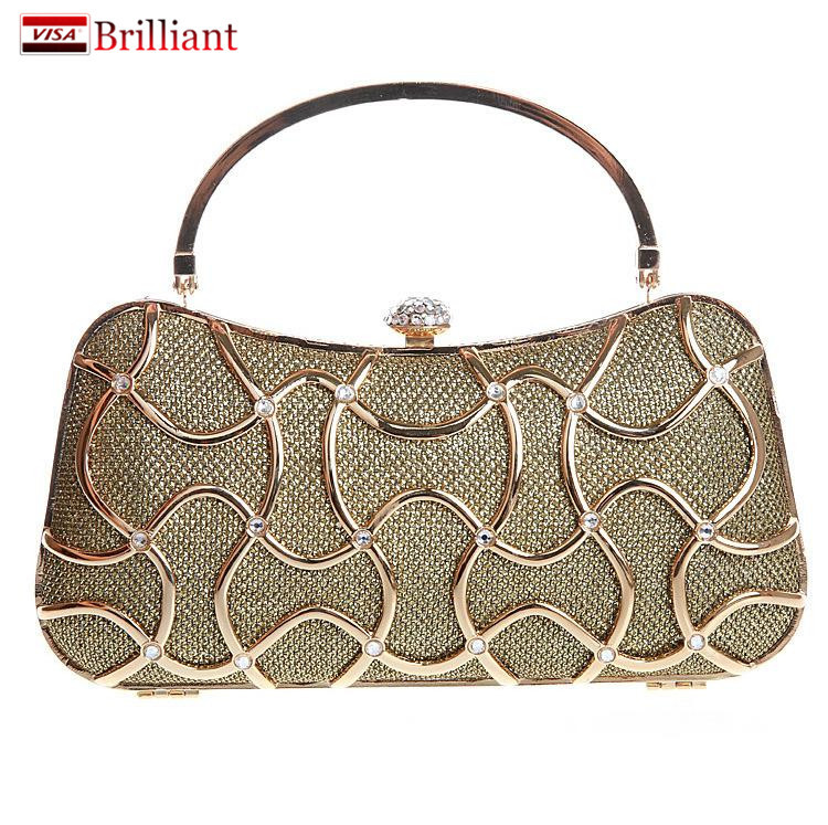 2016 New Both Side Hollow Diamond Evening Bag Clutch Bags Hot Day Clutches Party Lady Wedding Purse Golden/Black/Blue/Silver/Red(China (Mainland))