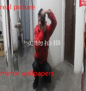 New High-definition,high quality,mirror adhesive,wallpapers,reflective Factory production wholesale PVC, silver wall sticker(China (Mainland))