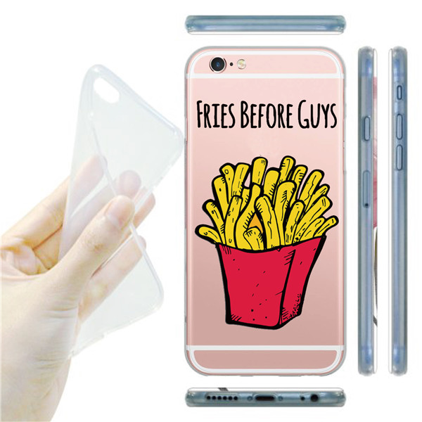 Cool Animal Style French Fries Watermelon Monkey Design Transparent Phone Shell Case Cover For Apple iPhone