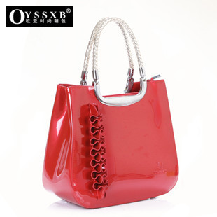Red bags the wedding bag bridal bag bridesmaid bag dinner pink japanned leather women's patent leather handbag