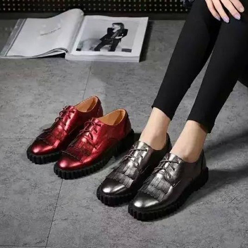 2016 Spring Summer Women New Lacing Tassel Flat Casual Shoes Brand Designer Style Genuine Smooth Leather Flats sapato masculino<br><br>Aliexpress