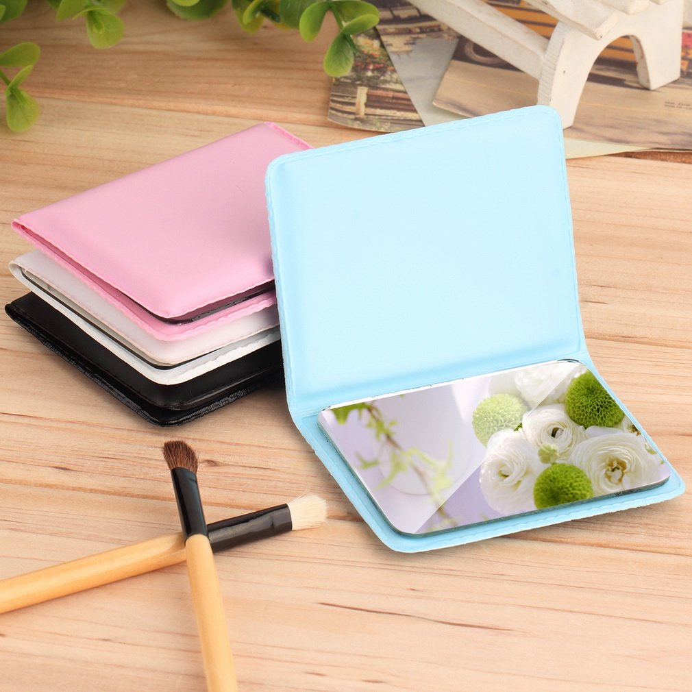 4Colors Women Lady Portable Makeup Mirror Cosmetic Folding Compact Leather Pocket Mirror(China (Mainland))
