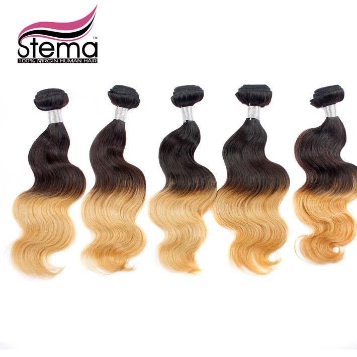 100% Free Shipping 5pc Бразильские женские волосы Ombre Объемная волна 1B #613 Объемная волна Hair Extension Weaves Объемная волна 1B#613 Ombre Hair
