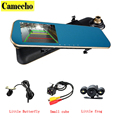 Dual Lens Car Camera Dash Cam Auto Video Recorder With 4 3 Inch Rear View Mirror
