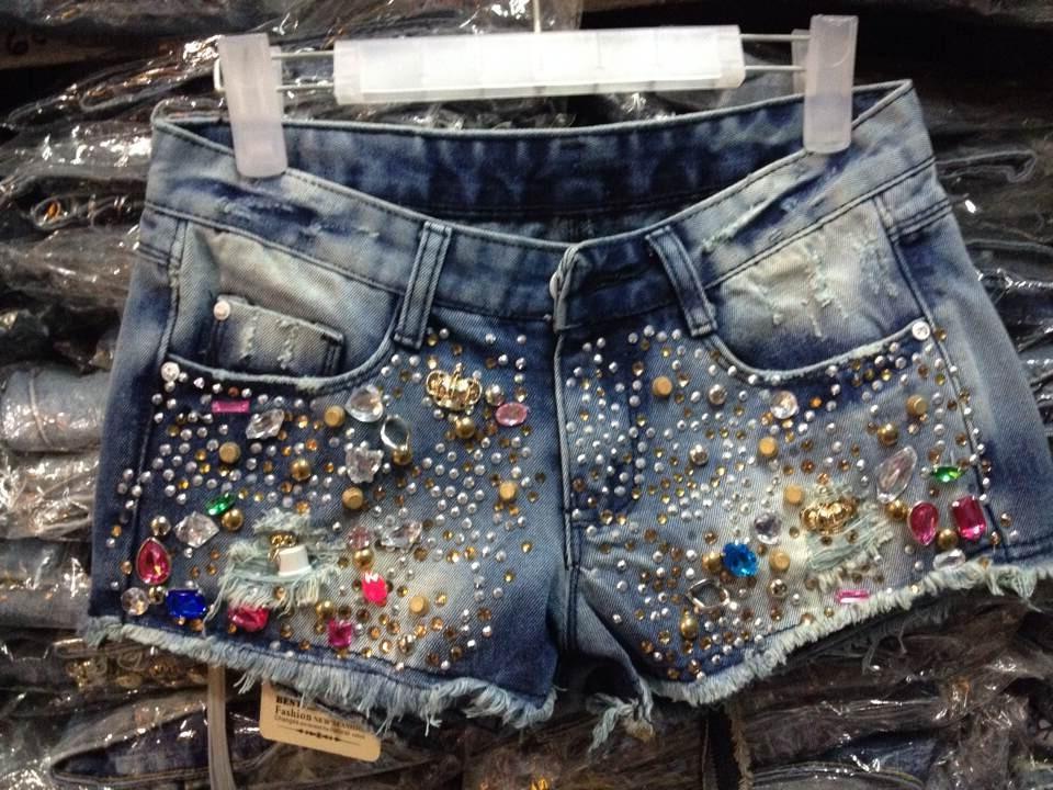 2016 sparkling handmade beading rhinestones sparkling diamond skull rivet denim shorts boot cut jeans