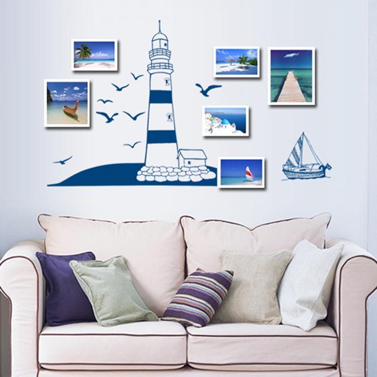 Blauwe Tinten Woonkamer : Blauwe muur woonkamer zee vuurtoren vinyl ...