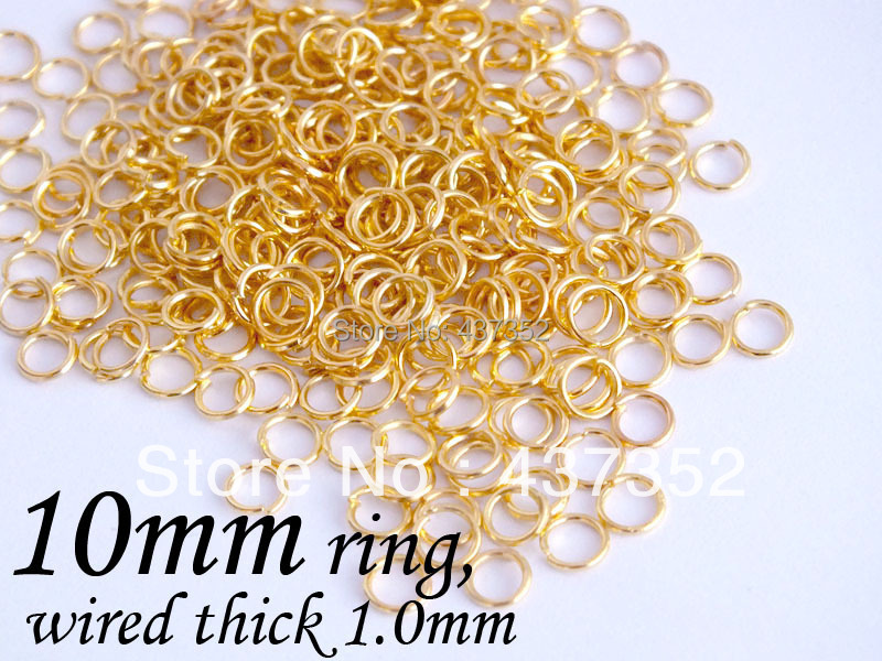 Bulk 2500piece 1mm wire 10mm gold plated jump rings, jumprings jewelry making supplies<br><br>Aliexpress