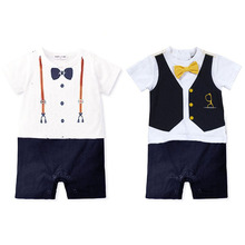 Wholesale Summer Newborn baby romper suit kids boys girls rompers body summer short-sleeve Tie suit(China (Mainland))