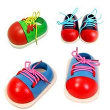 New Fashion Kids Montessori Educational Toys Children Wooden Toys Toddler Lacing Shoes Early Education Montessori Teaching Aids(China (Mainland))