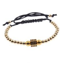 Amader Punk Style miedziane koraliki Beetle cyrkon najwyższej jakości regulowana lina bransoletka wysokiej klasy mężczyzna lub kobieta biżuteria AB1022(China)