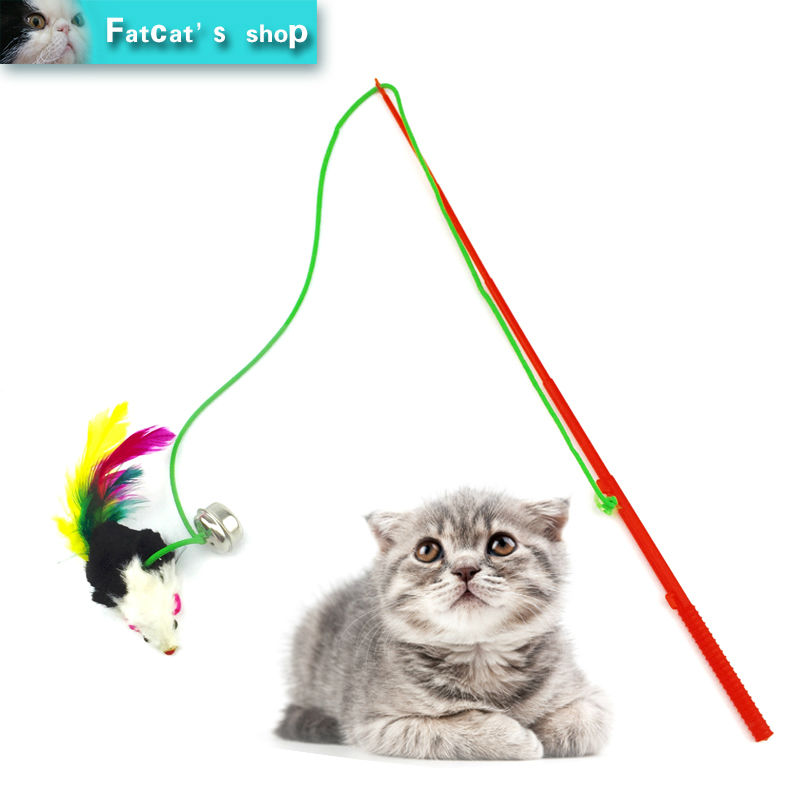 Hot 30cm Pet cat toy Cute Design Rope Mouse Feather Teaser Wand Plastic Toy for cats Color Multi Products For pet Free shipping(China (Mainland))