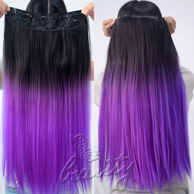 Purple Hair Extensions In Brown Hair Remy Indian Hair