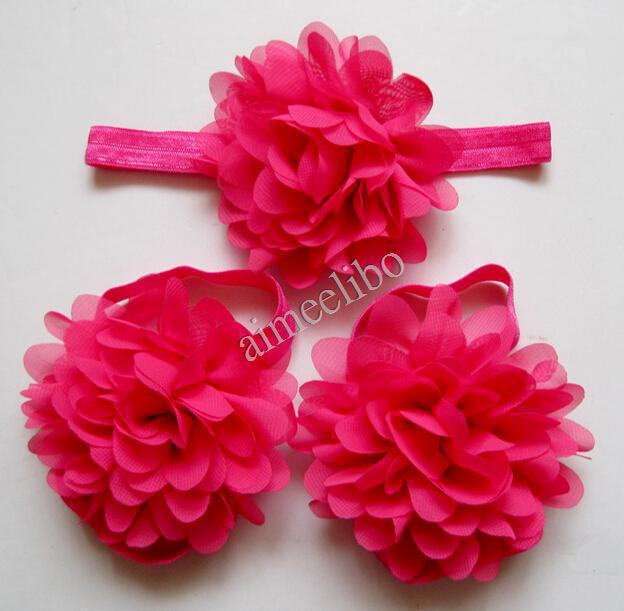 Wholesale Newborn Headbands Chiffon Flowers Baby Barefoot Sandals And Headband Set Girls Hair Accessories(China (Mainland))