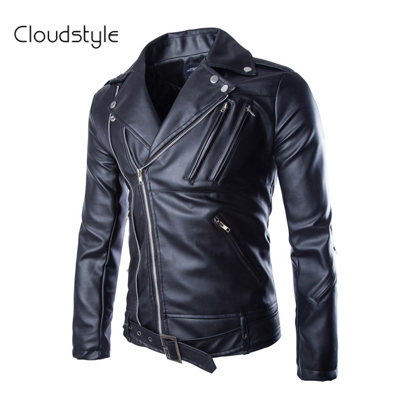 2016 New Design Men's PU Leather Motorcycle Jacket Fit Slim Korean Fashion Black Color Turn-down Collar Pocket - Cloud fashion clothing store