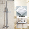10 in Square Shower Head Wall Mounted Chorme Polish Shower Set Thermostatic Shower Faucet