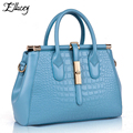Free Shipping 2016 Crocodile Grain Platinum Genuine Leather Women Bag Famous Brand Luxury Handbag Ladies Shoulder