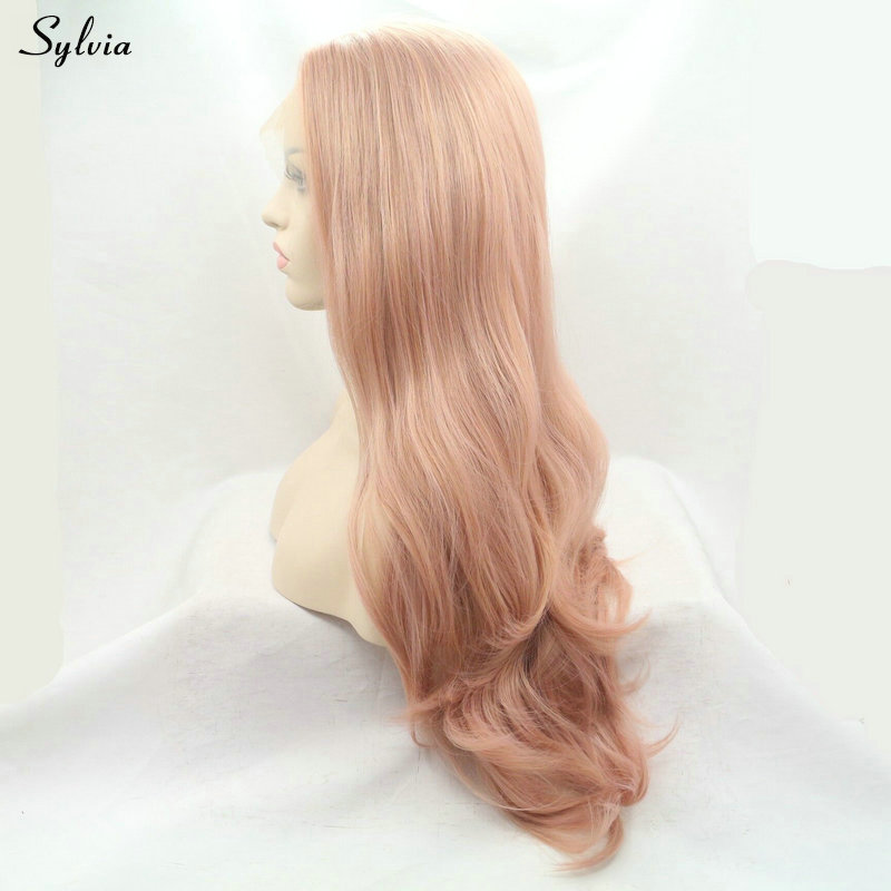 rose gold synthetic lace front wig (2)