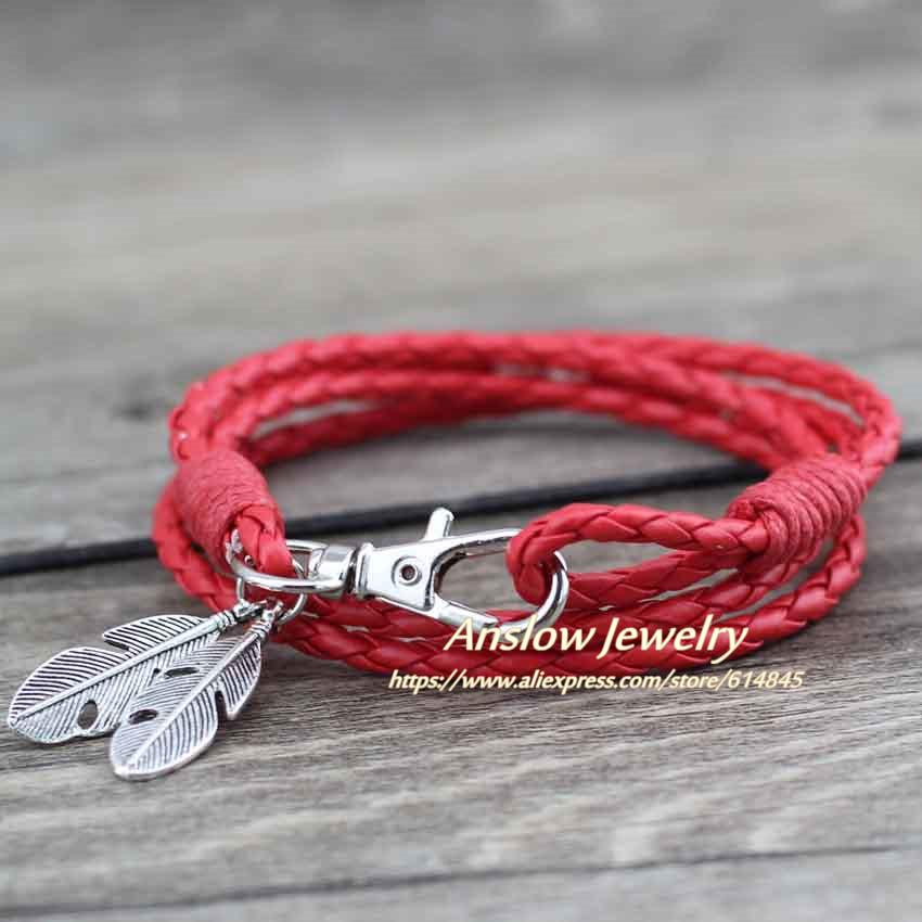 Anslow Wholesale Fashion Jewelry Leather Charm Friendship Bracelets & Bangles Feather Bracelet For Women Men12 Colors LOW0172LB
