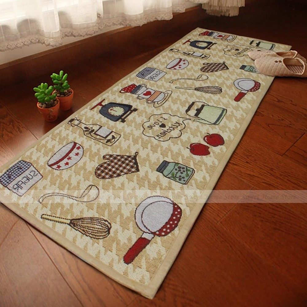 yazi Jacquard Food Home Party Kitchen Rug Runner Soft Fabric Floor Carpet Door Mat 45x178cm