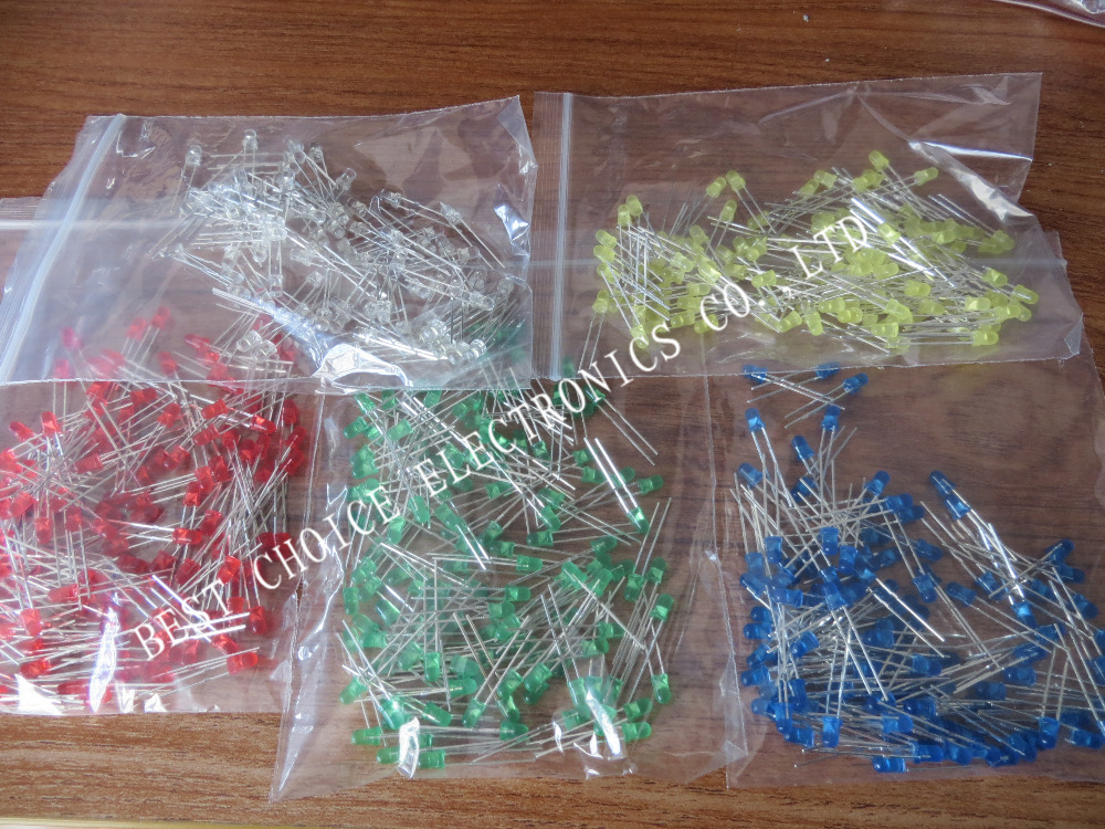 500Pcs/lot 3MM LED Diode Kit Mixed Color Red Green Yellow Blue White(China (Mainland))