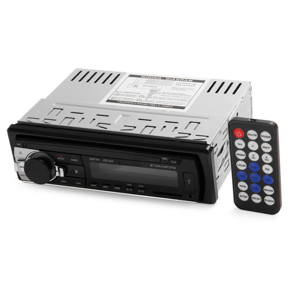Single Din Car Stereo Audio 12V Bluetooth V2.0 In-dash FM Receiver Aux Input Receiver USB MP3 MMC WMA FLAC Car Radio Player