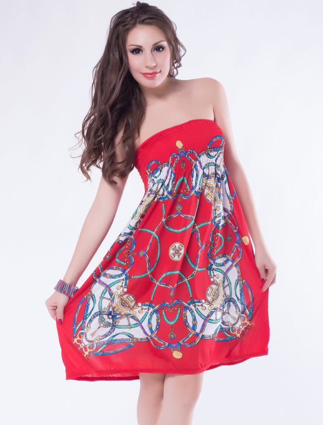 R7970 Free shipping red blue new hot sale in stock novelty dresses fashion women 2014 dresses women(China (Mainland))