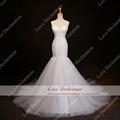Real Photos Perfect Lace Mermaid Wedding Dress 2016 Appliques Sheer Back Bridal Gowns Dresses vestido de