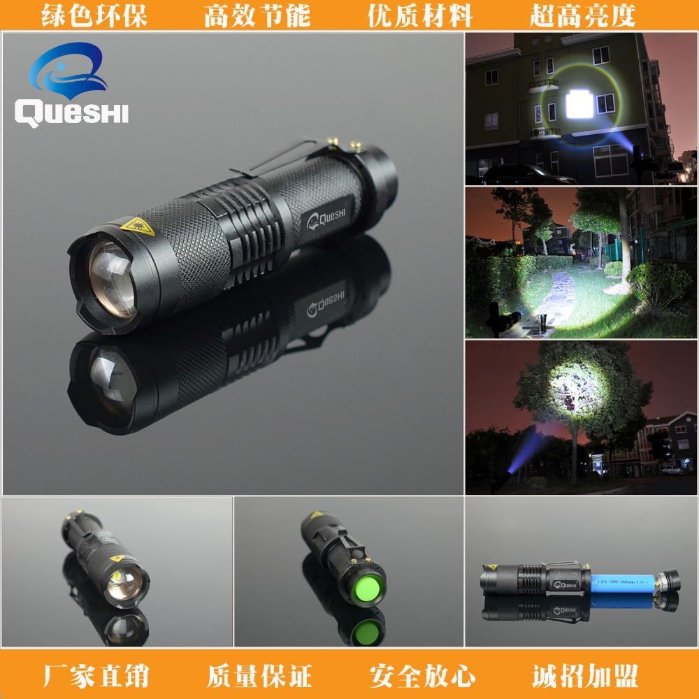 Queshi XPE LED Black Rechargeable Led Flashlight Mini Cree T6  Flashlight Torch+Charger+Box Cheap Led  Flashlight 14500 Battery