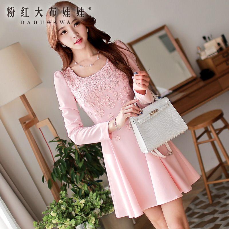 Long sleeved dress pink doll 2015 fall fashion  Korean slim dress backingОдежда и ак�е��уары<br><br><br>Aliexpress