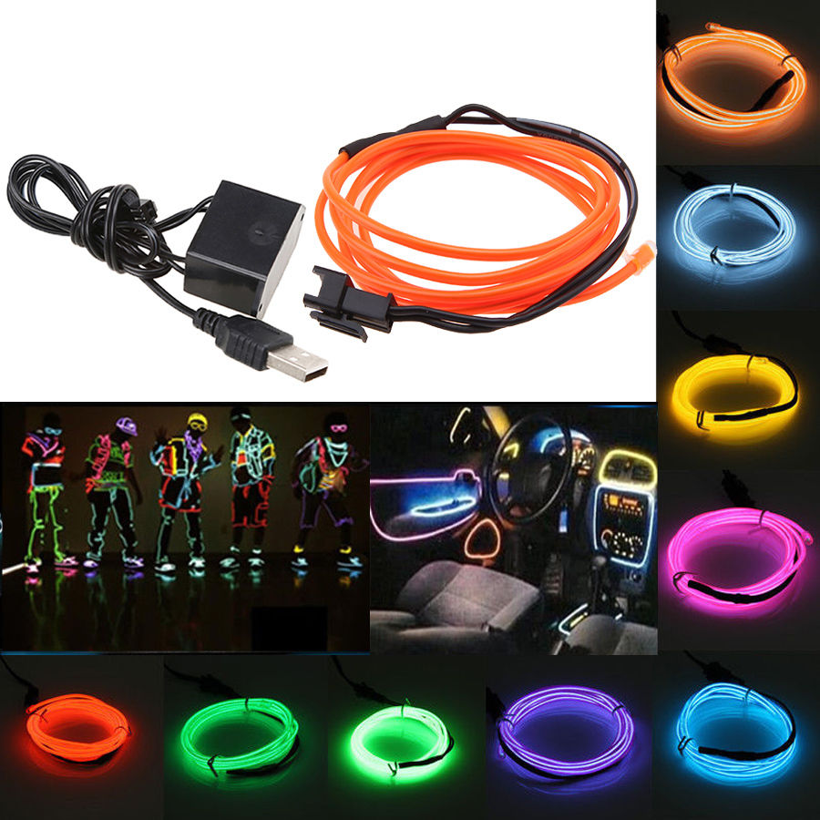 1m flexible el wire neon led strip light glow tube car for Home party tube