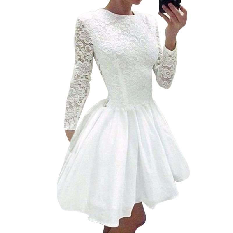 2015 Sweet Long Sleeve Chiffon Patchwork White Lace Dress Cocktail Party Puffy Short Dress For Ladies Vestidos De Renda M-XL(China (Mainland))