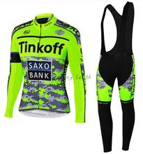 3D Silicone! SAXO BANK 2015 #4 Winter thermal fleeced long sleeve clothes cycling jersey+bib pants bike bicycle wear set