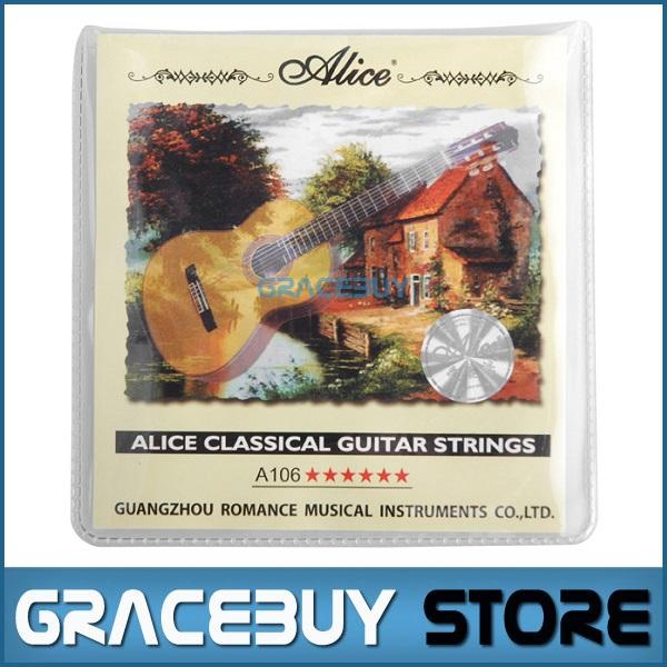 Classical Guitar String cordas da guitarra 1 set Clear Nylon String Hard Tension - Alice A106-H encordoamento(China (Mainland))
