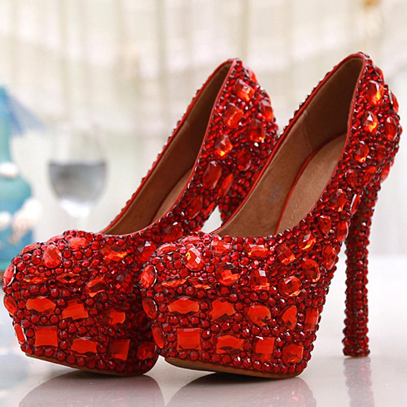 Free Shipping Red Crystal Rhinestone Diamond 14cm High Heels Women Bridal Wedding Shoes Women Big Size 42 43  Party Prom Shoes