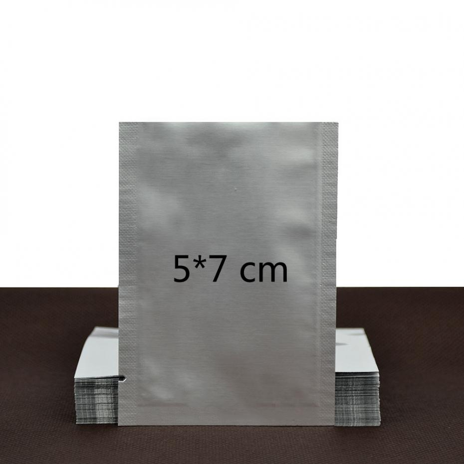 Hot Sale Brand New 100pcs 5*7CM Silver Aluminum Foil Mylar Bag Vacuum Bag Sealer Food Storage Package Excellent Quality(China (Mainland))