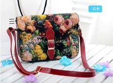 2015 NEW Women Vintage Oil Painting Messenger Bag Girl Flower Printing Shoulder Bag Lady Multifunction Handbag Purse 25.5*21*7cm(China (Mainland))