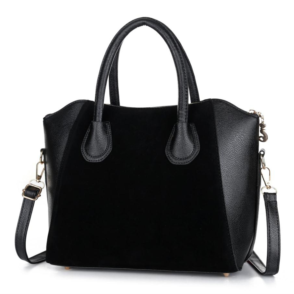 Hot Sale! Bag fashion bags 2015 patchwork nubuck leather women's handbag smiley shoulder bags free shipping(China (Mainland))(China (Mainland))