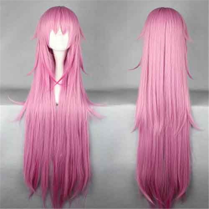 110cm Long Straight Light Pink Anime Cosplay Wigs For
