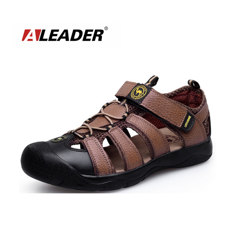 Mens Genuone Leather Walking Sandals Shoes New 2016 Summer Outdoor Slippers Beach Zapatos masculino - Aleader Brand Flagship Store store