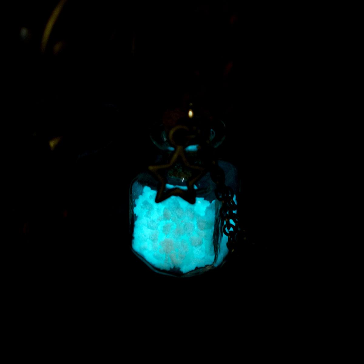 Steampunk Glow In the Dark Necklace Luminous Stone Locket Wishing Bottle Pendant Choker Mermaid Necklace Collares Choker Jewelry