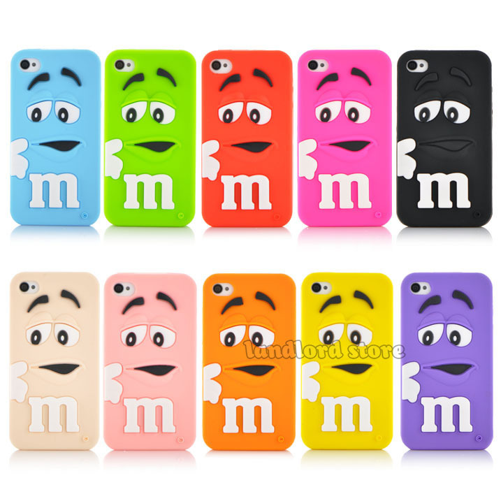 Popular New arrival 3D Cartoon M&M Chocolate Candy model silicon material Cover Case for iphone 4 4s PT1358(China (Mainland))