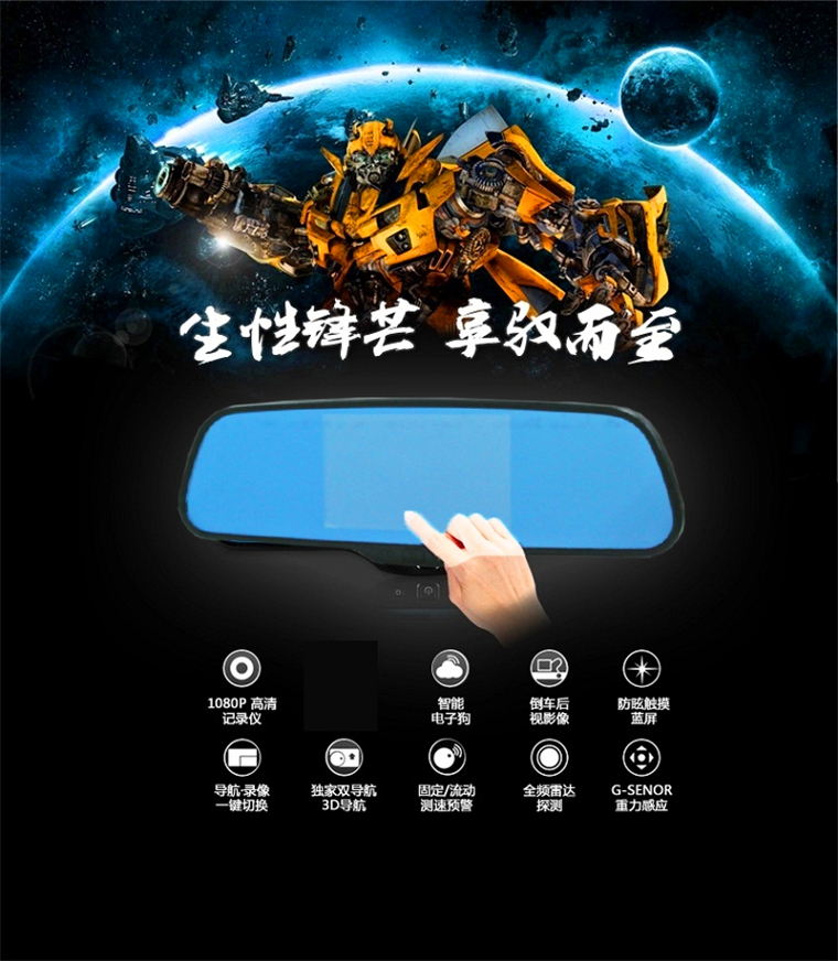 forAndroid rearview mirror navigation for vehicle traveling data recorder all-in-one 1808 p Gao Qingshuang lens navigation(China (Mainland))