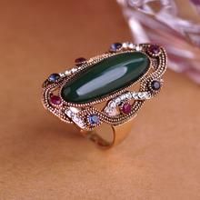 Зеленый большой размер кольца 10 австрийских кристаллов старинные кольца для женщин ну вечеринку античная посеребренная овал камень анель турко-джерси ювелирных изделий(China (Mainland))