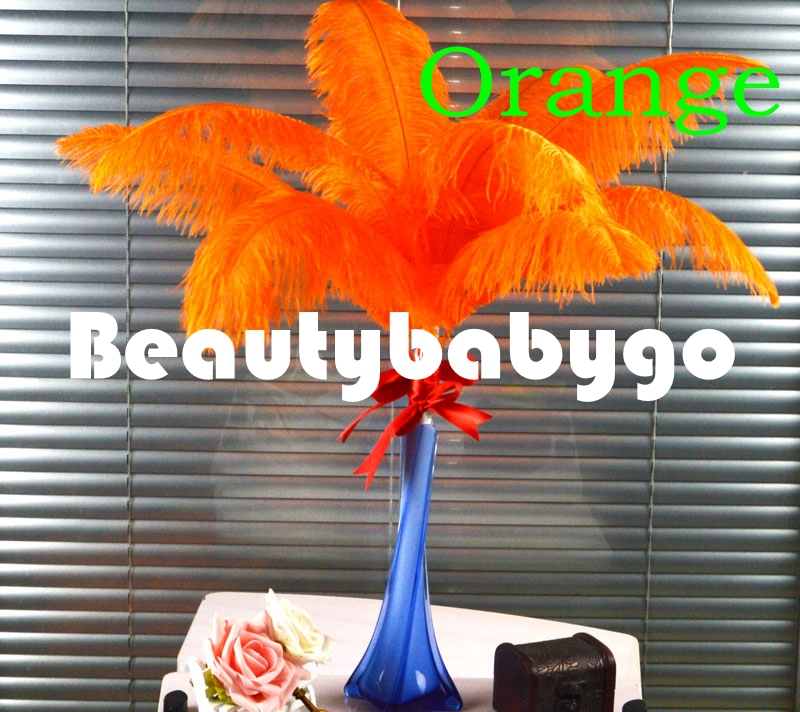 EMS 10Orange ostrich feather 55-60cm 22-24 inches Natural & Real Ostrich plumes crafts - Beautybabygo store
