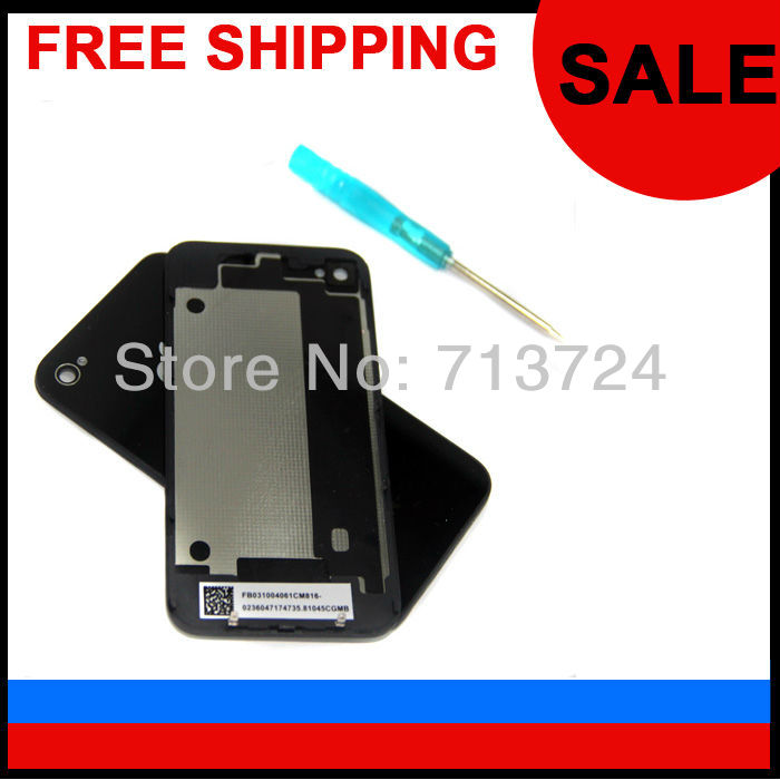 For Iphone 4 4G Back Cover Housing Glass Battery with black bezel White Free shipping + Free TOOL 100%quality The lowest price