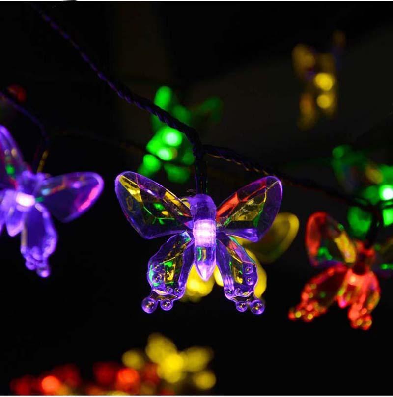 4.8m 20 Butterfly Warm White/RGB Solar LED String Lights Picks luces navidad Garland Fairy ...