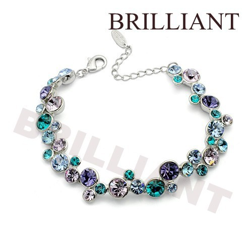 BB034 Blue Gem 18K Platinum Plated Bracelet Jewelry Made Austria Crystal Elements - Brilliant store