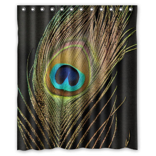 new arrival peacock shower curtain with c shaped curtain hooks